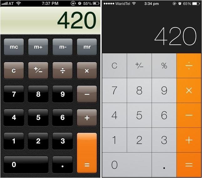 Calculator_ios_6_vs_ios_7