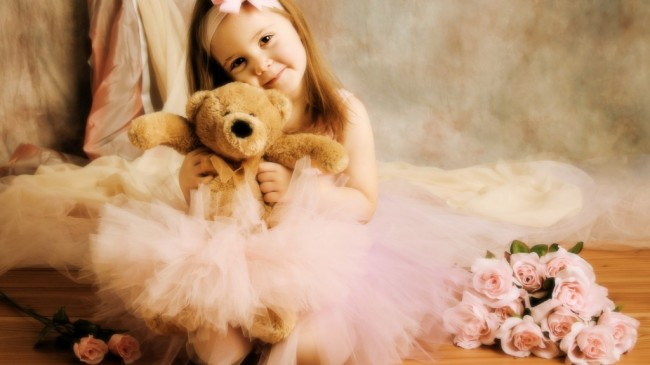 cute girl with teddy Bear