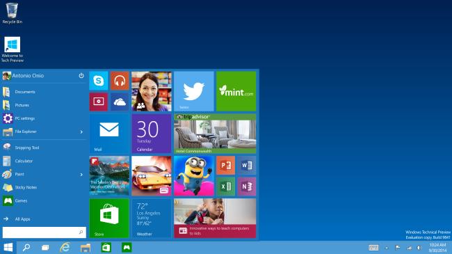 Microsoft Windows 10 Start Menu Tech Preview