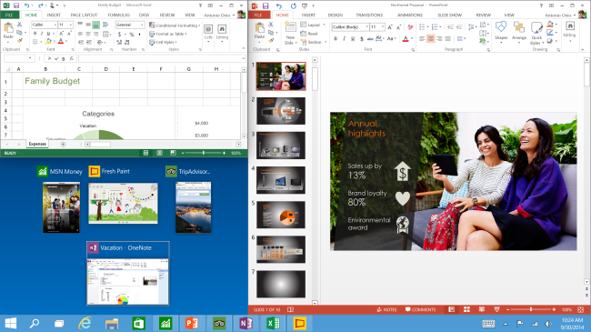 Windows 10 Snap enhancements Technical Preview